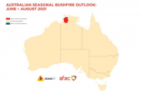 Map of Australia showing areas of above normal, normal and below normal fire potential.